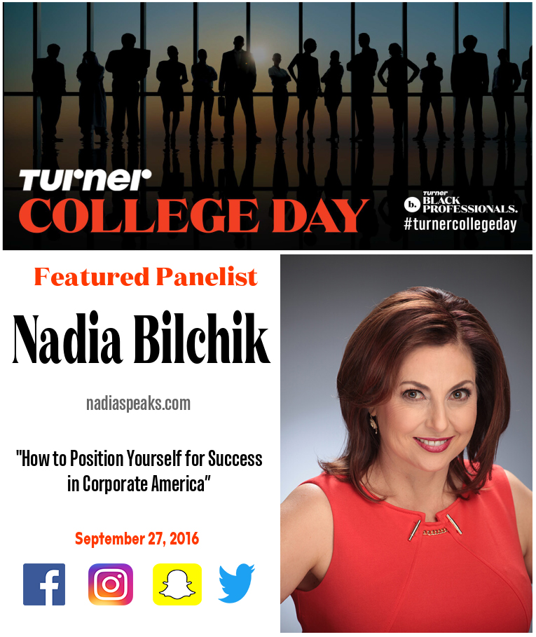 Graphic Designs: A flyer for Nadia Bilchik - speaker, author, and coach; for Turner's Black Professional College Day Event. Flyer Design done by Zakiya Davidson.