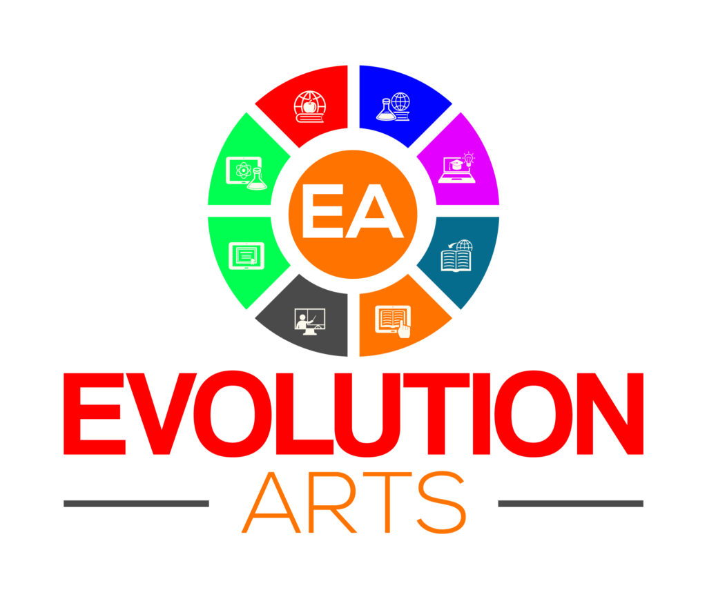 Evolution Arts is where technology and art collide.  This was our first logo design done by an outside designer.  We came back to the Logo Design Diva - Zakiya . We ask Zakiya Davidson to redesign our logo.